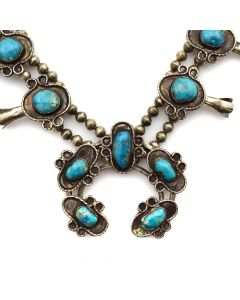 "Navajo Turquoise and Silver Squash Blossom Necklace c. 1950s, 28"" length (J11465)"
