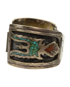 Gilbert Ortega Enterprises Shop - Navajo Turquoise and Coral Chip Inlay and Silver Watchband with Peyote Bird Design c. 1970s, size 5