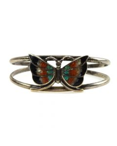 Corbet Joe - Navajo Multi-Stone Chip Inlay and Sterling Silver Butterfly Bracelet c. 1960-70s, size 6
