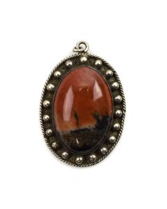 "Navajo Petrified Wood and Silver Pendant c. 1940s, 1.5"" x 1"""