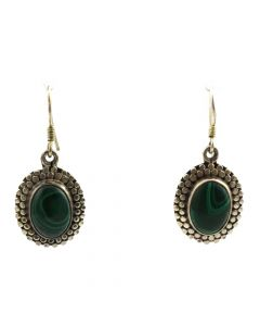 "Mexican Malachite and Silver Hook Earrings c. 1980s, 1.5"" x 0.75"""
