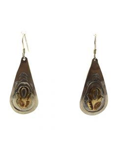 "Navajo Sterling Silver and Gold Colored Hook Earrings with Pottery Design c. 1980s, 1.75"" x 0.625"" (J11504)"