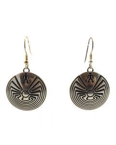 "Hopi Silver Man in the Maze Hook Earrings c. 1980s, 1.75"" x 1"" (J11524)"