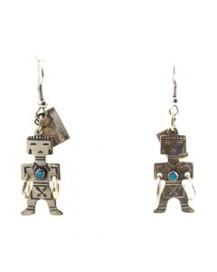"""Bell Trading Post - Navajo Turquoise and Silver Hoop Dancer Earrings c. 1960s, 1.75"""" x 0.625"""" (J11527)"""