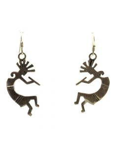 "Navajo Silver Kokopelli Hook Earrings c. 1980s, 1.75"" x 0.75"" (J11530)"