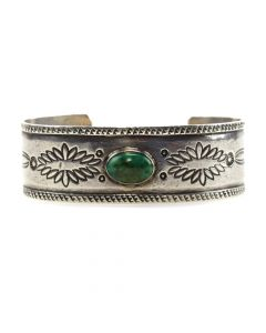 Navajo Turquoise and Silver Bracelet c. 1920s, size 6.5 (J11534)