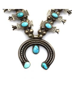 "Navajo Box and Bow Squash Blossom Necklace c. 1930s, 24"" length (J11537)"