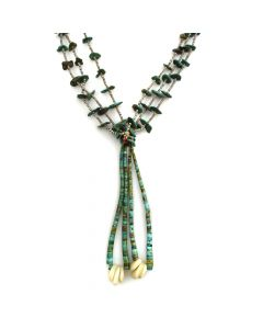 """Navajo Turquoise and Shell Heishi Necklace with Joclas c. 1950s, 30"""" length (J11539)"""