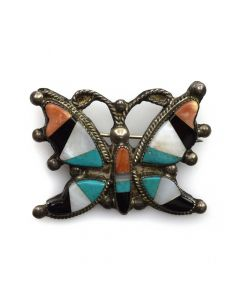 "Zuni Multi-Stone Inlay and Silver Butterfly Pin c. 1940s, 1.25"" x 1.75"""