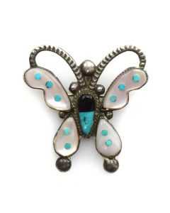 "Zuni Multi-Stone Inlay and Silver Butterfly Pin c. 1950s, 1.5"" x 1.5"""