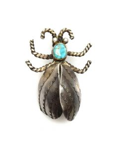 "Navajo Turquoise and Silver Insect Pin c. 1940s, 1.5"" x 1"""