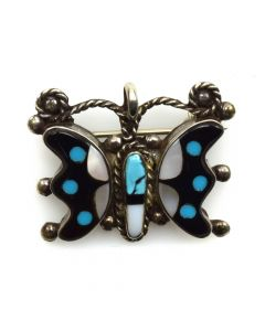 "Zuni Multi-Stone Inlay and Silver Butterfly Pin/Pendant c. 1950-60s, 1"" x 1.25"""