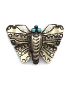 "Navajo Turquoise and Sterling Silver Butterfly Pin with Stamped Designs c. 1960-80s, 1.75"" x 2.75"""