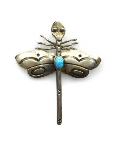 "Navajo Turquoise and Silver Dragonfly Pin with Stamped Design c. 1960s, 2.25"" x 2"""