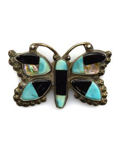 "Zuni Multi-Stone Inlay and Silver Butterfly Pin c. 1940s, 1.5"" x 2.25"""