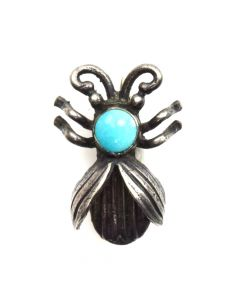 "Navajo Turquoise and Sterling Silver Insect Pin c. 1950s, 1"" x 0.75"""