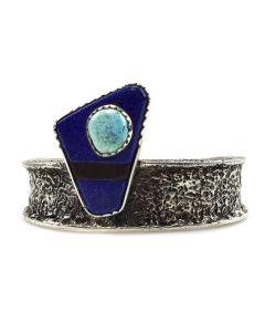 Charles Loloma (1921-1991) - Hopi Turquoise, Lapis Lazuli, Ironwood, and Sandcast Silver Bracelet c. 1970-80s, size 6.5