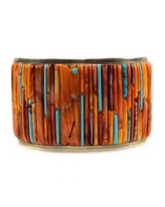 Veronica Benally - Contemporary Navajo Turquoise and Spiny Oyster Mosaic Inlay and Silver Bracelet, size 6 (J11596)
