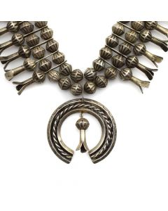 """Navajo Silver Squash Blossom Necklace c. 1950s, 24"""" length (J11597)"""