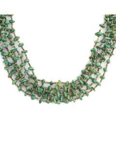 "Santo Domingo Six Strand Turquoise and Heishi Necklace c. 1980s, 28"" length (J11615)"