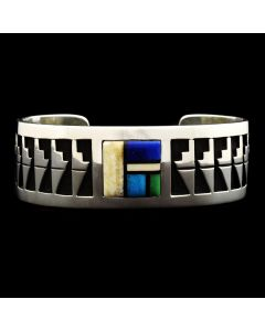 Timmy Yazzie - Contemporary Navajo Multi-Stone Inlay and Sterling Silver Overlay Bracelet, size 7.5