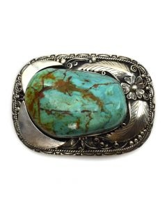 "Navajo Turquoise Chunk and Silver Belt Buckle with Flower and Leaf Design c. 1970s, 3"" x 4"""