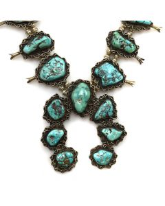 "Navajo Turquoise and Silver Squash Blossom Necklace c. 1960s, 30"" length"