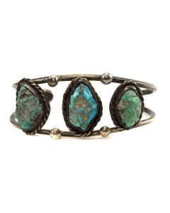 Stan Singer - Navajo Turquoise and Silver Bracelet c. 1975, size 6.5 (J11625)