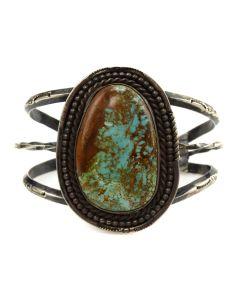 Stan Singer - Navajo Turquoise and Silver Bracelet c. 1975, size 7 (J11626)