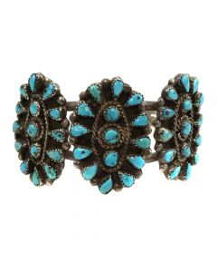 Lot 124 - Navajo Petit Point Turquoise and Silver Bracelet c. 1950s, size 6.5 (J11630)