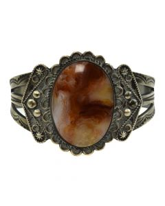 Navajo Agate and Silver Bracelet with Stamped Designs c. 1950s, size 6.5 (J11634)
