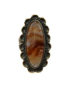 Navajo Agate and Silver Ring c. 1950s, size 4.75