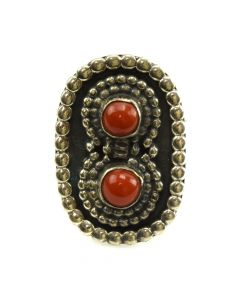 Navajo Coral and Silver Ring c. 1950s, size 6