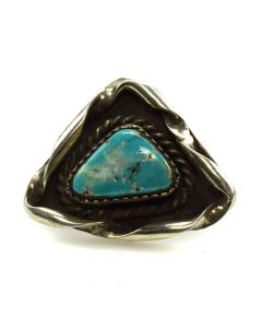 Navajo Turquoise and Silver Ring c. 1950s, size 5