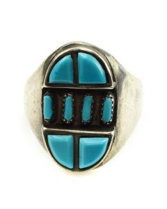 Lavonne Lalio - Zuni Petit Point Turquoise and Silver Ring c. 1990s, size 7.75