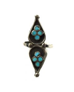 Dishta Family - Zuni Turquoise Channel Inlay and Silver Overlay Ring c. 1950s, size 7 (J11663)