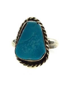 Navajo Turquoise and Silver Ring c. 1970s, size 8.5 (J11678)