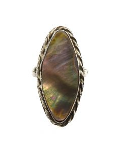 Navajo Mother of Pearl and Silver Ring c. 1950s, size 7.25 (J11680)