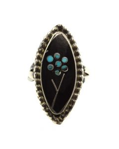 Dishta Family - Zuni Jet and Turquoise Inlay and Silver Ring with Flower Design c. 1970s, size 5 (J11695)