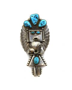 "Doris Smallcanyon - Navajo Turquoise and Silver Pin/Pendant c. 1980s, 3.25"" x 1.5"" (J11699)"