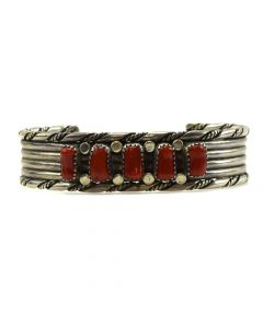 Navajo Coral and Sterling Silver Bracelet c. 1980s, size 6.75