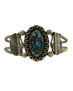Navajo Turquoise and Silver Bracelet c. 1960s, size 6.5 (J11707)