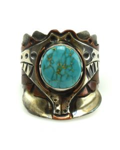 Navajo Turquoise, Silver and Copper Ring with Stamped Design c. 1970-80s, size 12.25 (J11711)