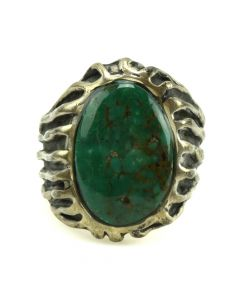 Navajo Turquoise and Sandcast Silver Ring c. 1980s, size 11 (J11714)