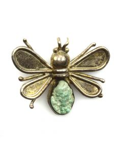 "Navajo Turquoise and Silver Insect Pin c. 1950s, 1.5"" x 2"" (J11731)"