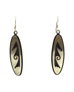 "Darren Seweyestewa - Hopi Silver Overlay Hook Earrings c. 1990s, 2.25"" x 0.5"""