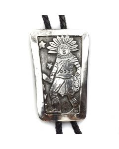 "Possibly Stanley Parker or Jim Williams - Navajo Silver Overlay Bolo Tie with Kachina Design c. 1970s, 3"" x 2"""
