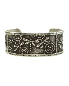 Cordell Pajarito - Santo Domingo Contemporary Sterling Silver Overlay Bracelet with Dragonfly Design, size 6.5