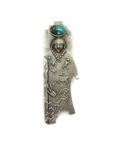 "Anthony Lovato - Santo Domingo Contemporary Turquoise and Silver Overlay Pin/Pendant with Native American Designs, 3.75"" x 1.5"""