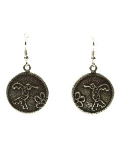 "Joel Pajarito - Santo Domingo Contemporary Silver Overlay Hook Earrings with Hummingbird Design, 1.75"" x 1.125"""